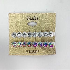 Tasha Crystal Hair Clips White 2 pack